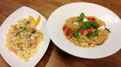 Spagetti con pomodorini frecshi og Farfalle con salmone e panna