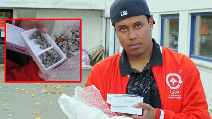 Trodde han kjøpte Apple-produkter:Betalte 6300 kr for to pakker med grus