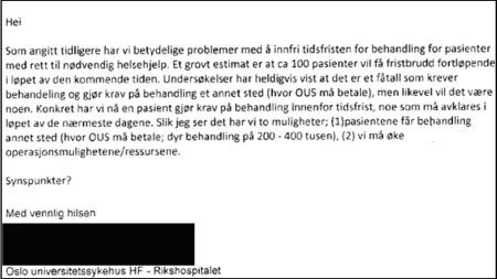 DOKUMENTASJON: Mailkorrespondanse som viser problemene OUS har med å overholde tidsfrister.
