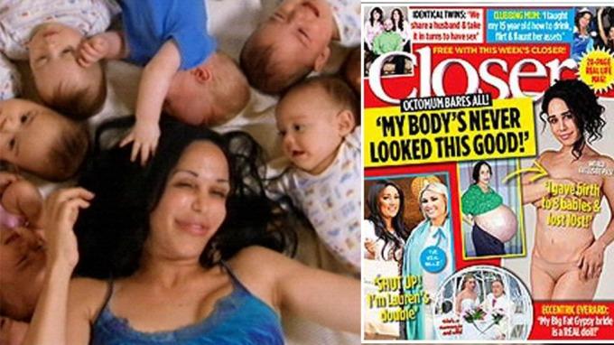 Nadya Suleman har tatt av 64 kilo etter at hun fødte åttlinger, og nå kaster 14-barnsmammaen klærne! thumbnail