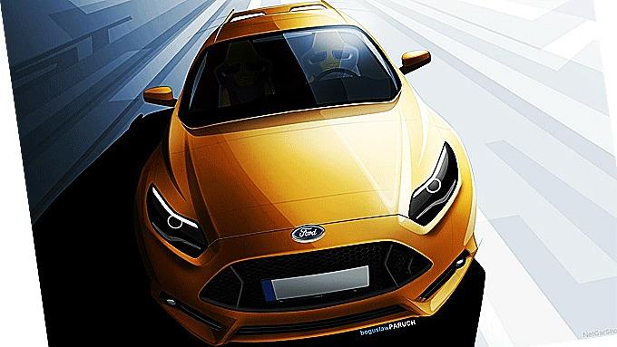 Nye Ford Focus RS får trolig motor fra legenden og konsernbroder - Ford Mustang! Illustrasjonen viser Ford Focus ST.