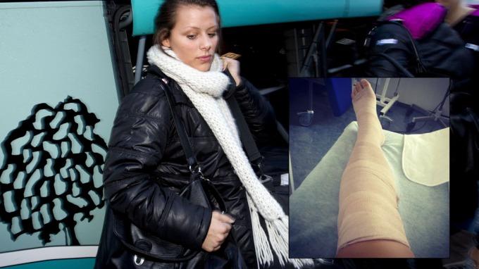 OPERERT - IGJEN: Nora Mørk er igjen avhengig av krykker. Etter gårsdagens operasjon tvitret hun følgende bilde av sitt opererte kne.