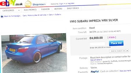 Detter er en bilannonse utenom det vanlige - prisen er akkurat nå oppe i ikke spesielt avskrekkende 4000 pund... Faksimilie fra www.ebay.co.uk.