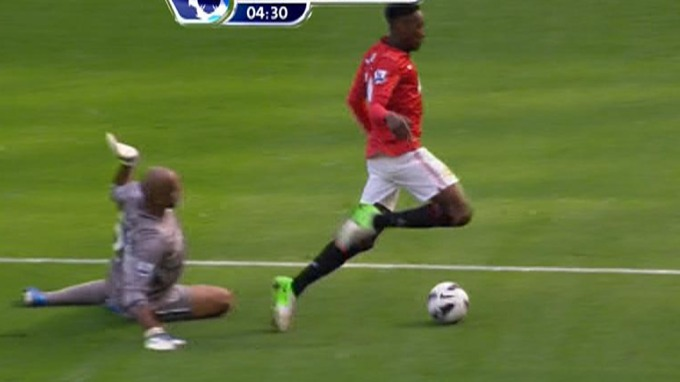 Dirty Diver: Danny Welbeck cheated his way to a penalty (Manchester United) v Wigan