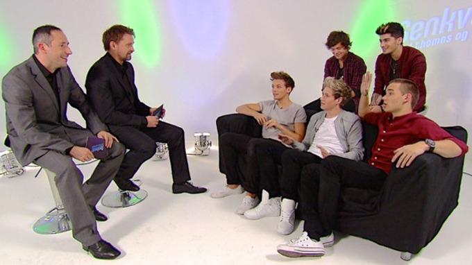 INTERVJU HAR SKAPT HYSTERI: Thomas og Harald møtte den britiske gruppen «One Direction» på onsdag, og responsen på nett har vært enorm.