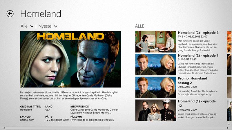 Homeland i TV 2 Sumos app for Windows 8