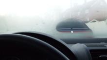 Kjører av veien på grunn av dårlig sikt