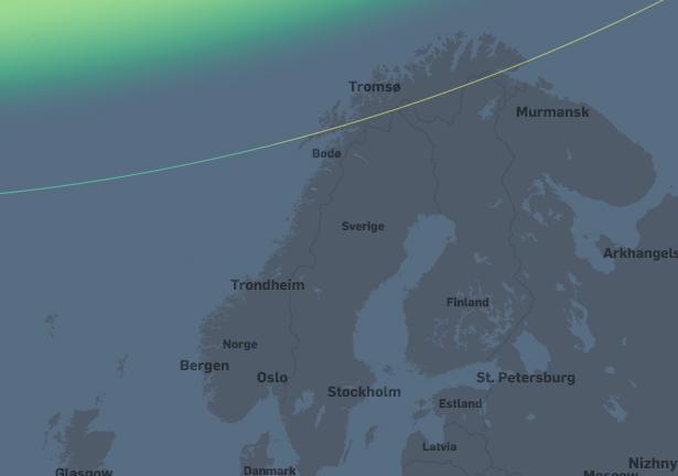 Svært liten nordlysaktivitet.  Veldig svakt nordlys kan være synlig lavt i nordhorisonten fra områdene nord for Lofoten.