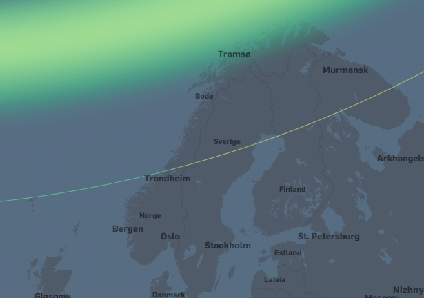 Lav nordlysaktivitet.  Nordlys vil være synlig høyt på nordhimmelen i Troms og Finnmark og lavt på nordhimmelen helt sør til Trondheim.