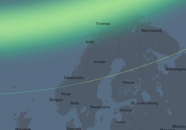 Moderat nordlysaktivitet. I Troms og Finnmark vil nordlyset være synlig i senit (rett opp) og høyt på nordhimmelen i Nordland og Nord-Trøndelag. Nordlyset vil være synlig like over nordhorisonten sørover til Stad og Dombås.