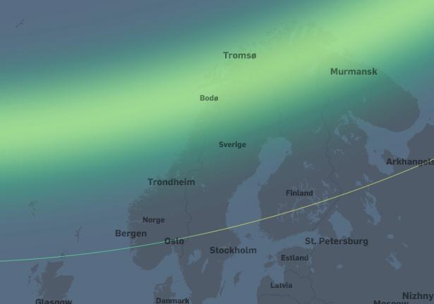 Stor nordlysaktivitet. I områdene fra Tromsø og sørover til Trondheim vil nordlyset være synlig i senit. Nordlyset vil være synlig på nordhimmelen sørover til Bergen og Oslo.