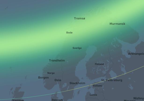 Høy nordlysaktivitet. I områdene fra Tromsø og sørover til Stad og Dombås vil nordlyset være synlig i senit. Nordlyset vil være synlig på nordhimmelen sørover til Kristiansand og Nord-Jylland.