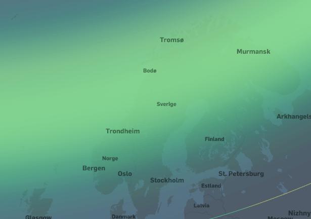 Kraftig nordlysaktivitet. I områdene fra Tromsø og sørover til Kristiansand vil nordlyset være synlig i senit. Nordlyset vil være synlig på nordhimmelen sør til Nord-Tyskland og London.