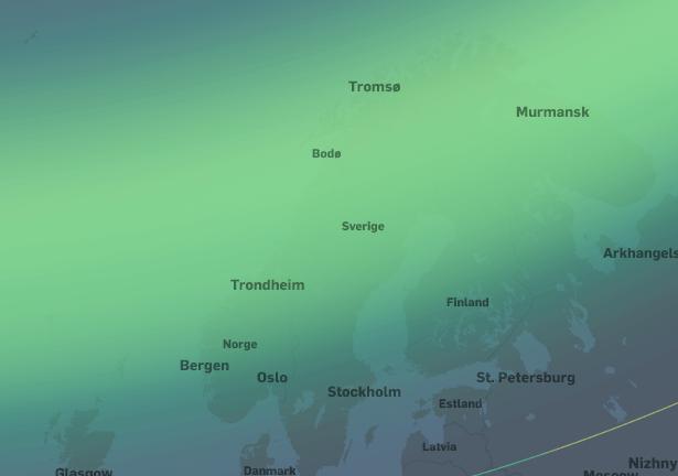 Uvanlig kraftig nordlysaktivitet. I hele Norge og sørover til Nord-Tyskland vil nordlyset være synlig i senit. Nordlyset vil være synlig lavt på nordhimmelen helt sør til Paris og München.