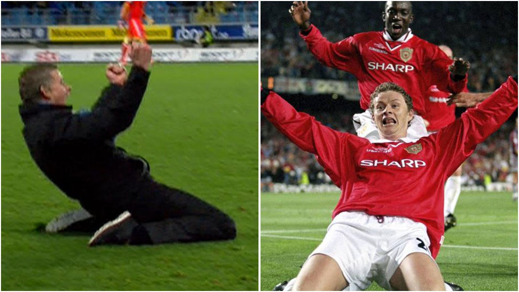 VMan P674598 680x383 Manchester United legend Ole Gunnar Solskjaer recreates 99 Champions League final goal celebration at Molde 2   Rosenborg 0