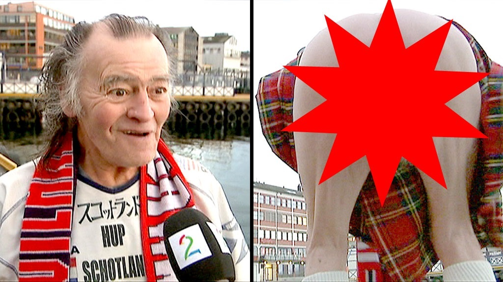 A 69 year old Scottish fan flashed his bare cheeks on Norwegian TV in a barmy interview